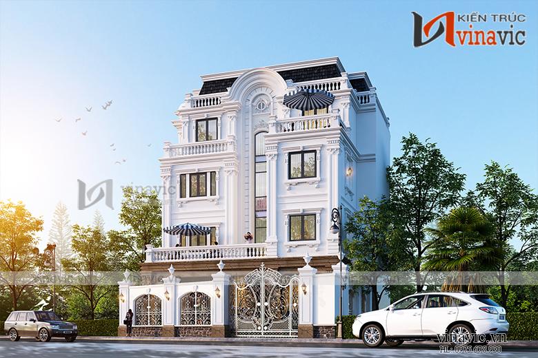 Mẫu nhà biệt thự 4 tầng đẹp phong cách tân cổ điển BT1906