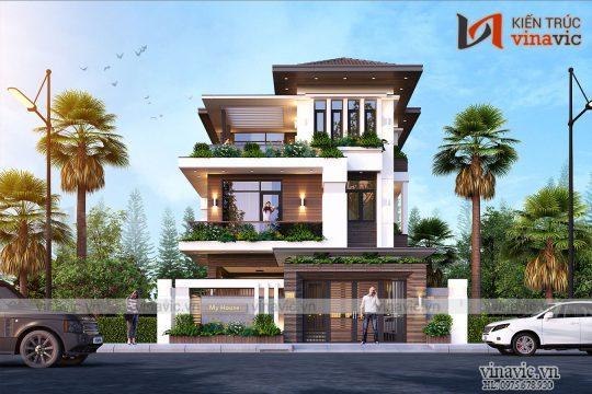 Nhà biệt thự 3 tầng mái thái hiện đại 100m2 3 tầng 3 phòng ngủ