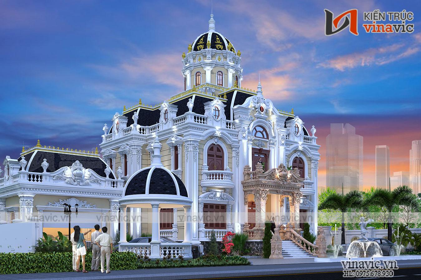 Thiết kế lâu đài kiểu Pháp đẳng cấp tinh tế từng chi tiết LDDT1901