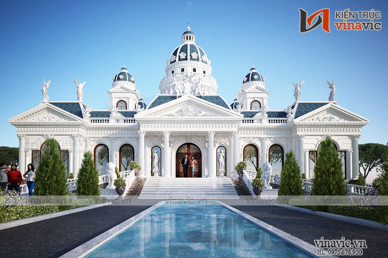 Thiết kế dinh thự 1 tầng phong cách cổ điển nguy nga bề thế