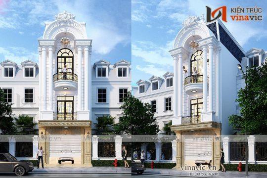Mẫu nhà phố mặt tiền 5m sâu 14m 3 tầng 4 phòng ngủ kiểu Tân Cổ Điển