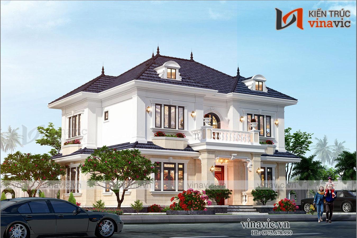 Biệt thự nhà vuông 2 tầng 160m2 tân cổ điển ở Bắc Ninh BT2004