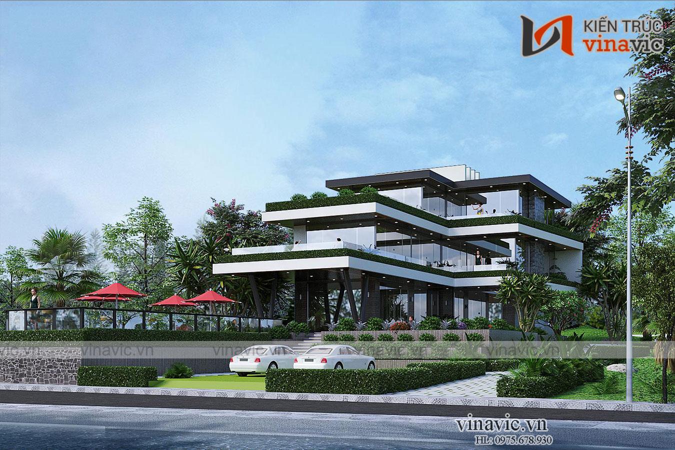 Biệt thự nhà vườn hiện đại 3 tầng mặt tiền rộng 10m sâu 20m BT2015